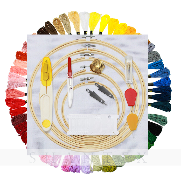 Full Range of Embroidery Starter Kit Cross Sti 5 Pieces Bamboo Hoops, 50 Color Threads, 2 Pieces 14ct Aida Cloth